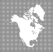 Highly detailed map of North America on dotted background. North America map vector outline cartography. North America map with included countries borders in black and white pixelated background