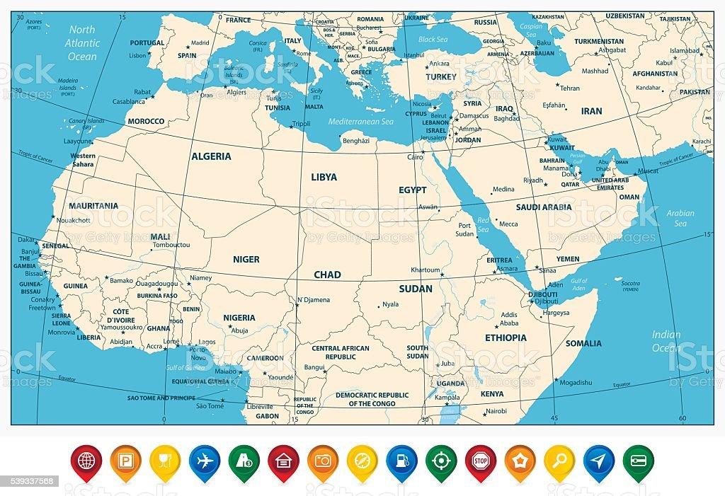 Cartina Africa Del Nord.Altamente Dettagliata Mappa Del Nord Africa E Medio Oriente