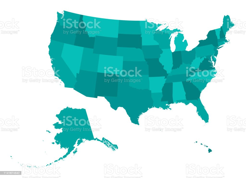Highly Detailed Map Of The United States Of America Usa ...