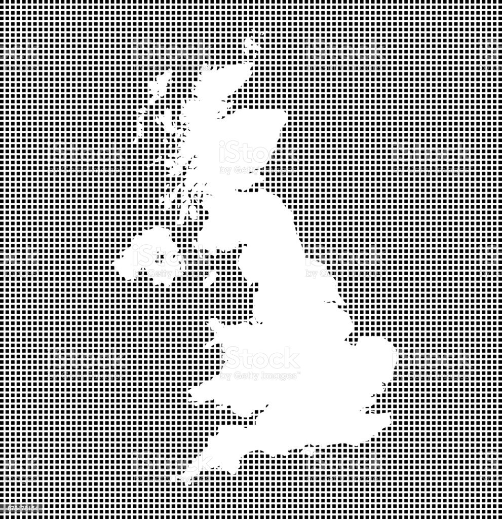 Highly detailed map of United Kingdom on dotted background. UK map vector outline cartography. Great Britain map with included counties borders in black and white pixelated background vector art illustration