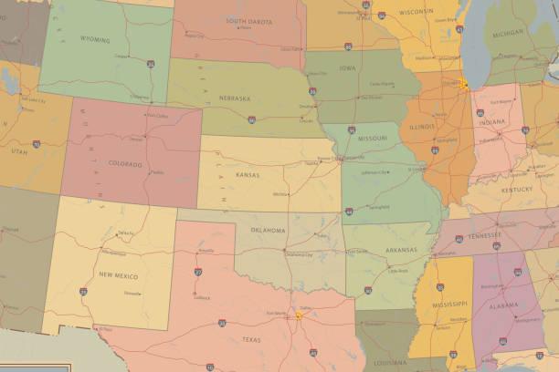 ilustraciones, imágenes clip art, dibujos animados e iconos de stock de mapa muy detallado de estados unidos. carretera y mapa de la población - mapas vintage