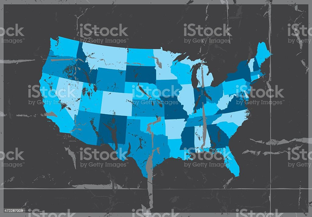 Highly Detailed Map Usa All States Outlined Grunge Style Stock ...