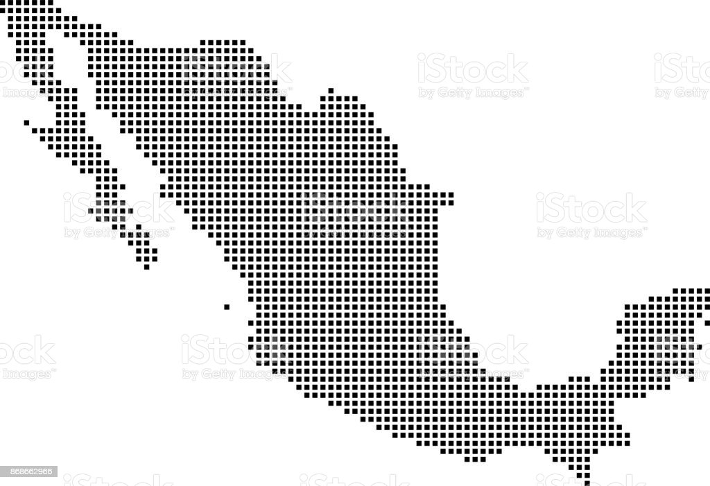 Highly Detailed Mexico Map Dots Dotted Mexico Map Vector Outline ...