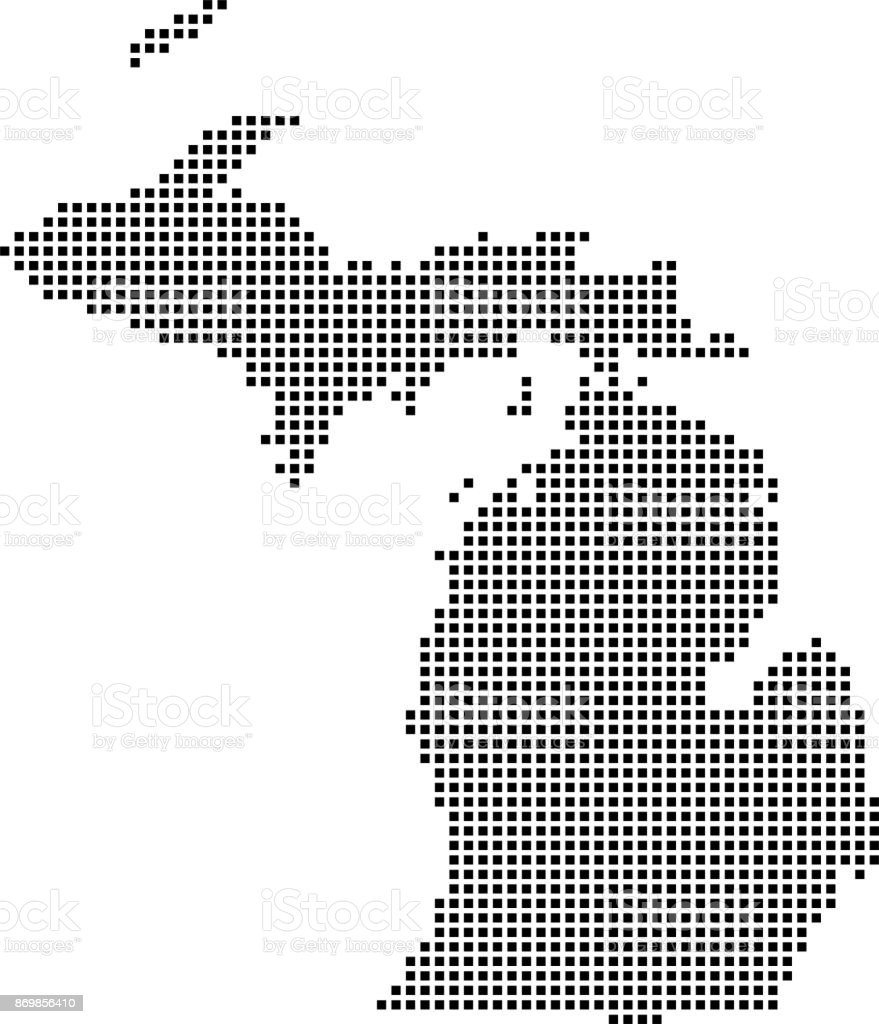 Highly Detailed Michigan Map Dots Dotted Michigan State Of Usa Map