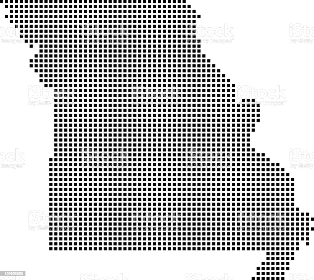 Highly Detailed Missouri Map Dots Dotted Missouri State Of Usa Map - Us map vector outline