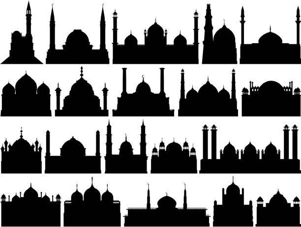 stockillustraties, clipart, cartoons en iconen met zeer gedetailleerde moskeeën - minaret