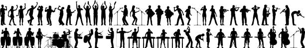 Highly Detailed Musician Silhouettes vector art illustration
