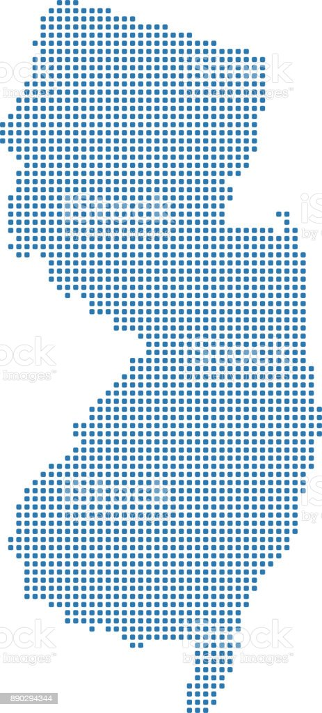 Highly Detailed New Jersey Us State Map Dots Dotted Vector Map Of ...
