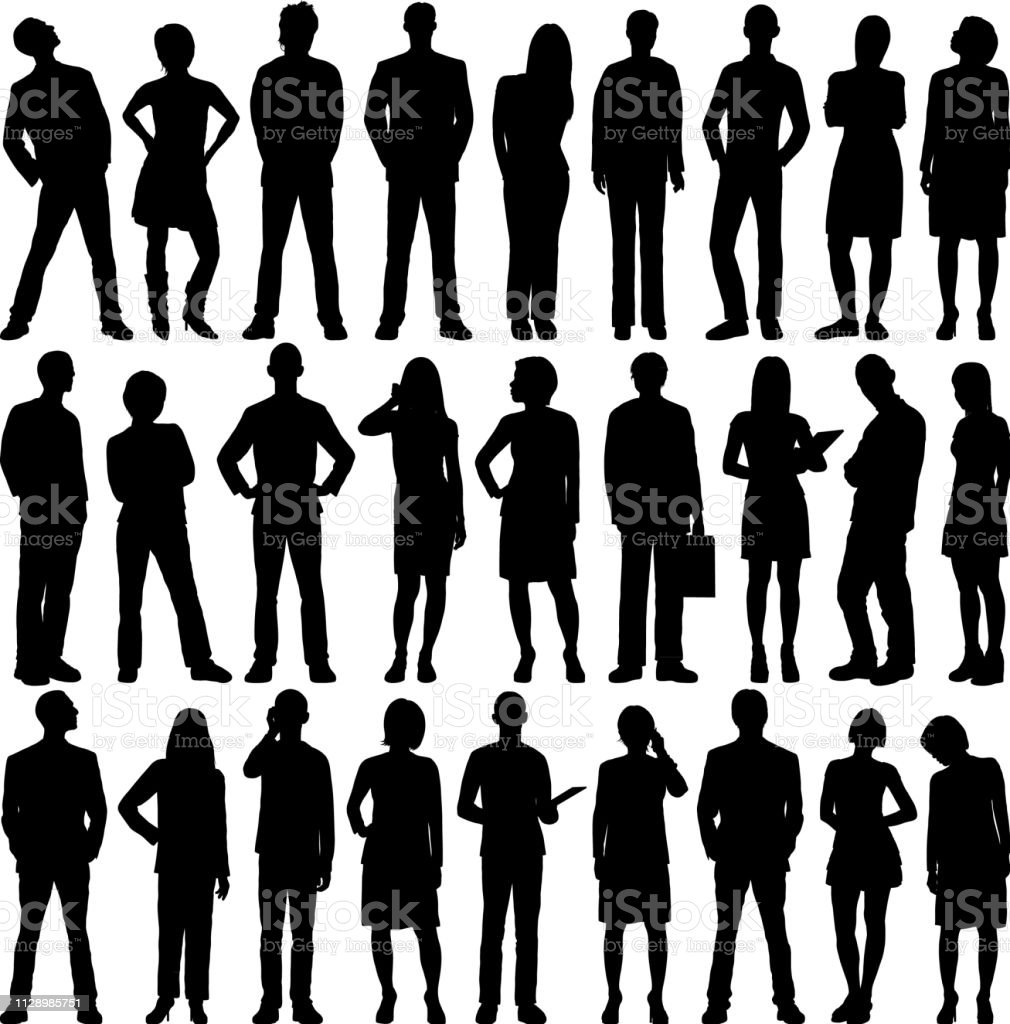 Highly Detailed People Silhouettes - Royalty-free Adulto arte vetorial