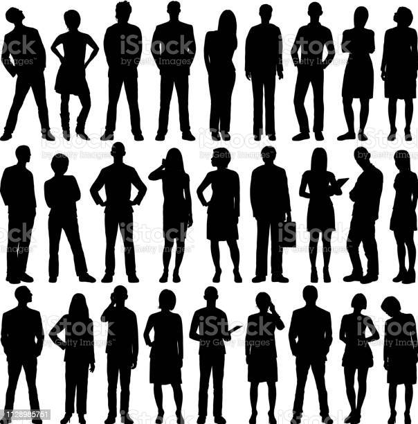 Highly Detailed People Silhouettes - Arte vetorial de stock e mais imagens de Adulto