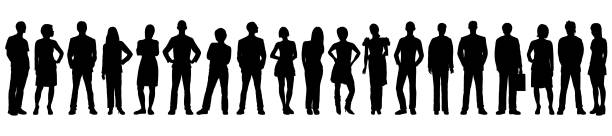 Highly Detailed People Silhouettes Highly detailed people silhouettes. in silhouette stock illustrations