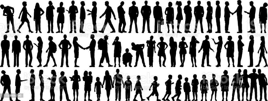 Hochdetaillierte Volkssilhouetten - Lizenzfrei Abwarten Vektorgrafik