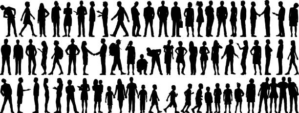Highly Detailed People Silhouettes Silhouettes in silhouette stock illustrations