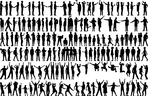 human silhouettes stock illustrations