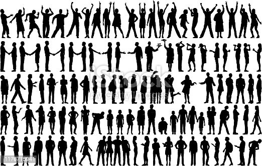 istock Highly Detailed People Silhouettes 1176715941