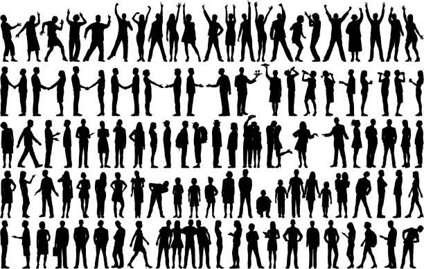 bardzo szczegółowe sylwetki ludzi - neutralne tło stock illustrations