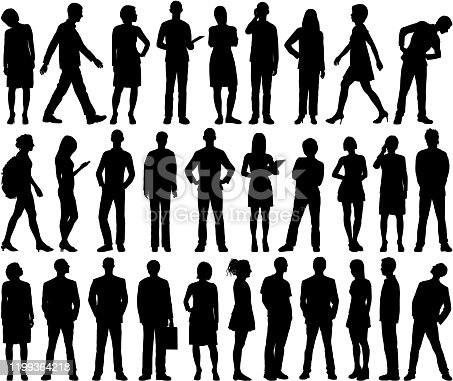 istock Highly Detailed People Silhouettes 1199364218