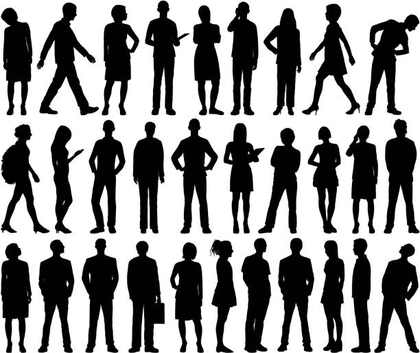 Highly Detailed People Silhouettes Highly detailed people silhouettes. silhouette people stock illustrations