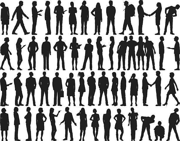 highly detailed people silhouettes - standing stock illustrations