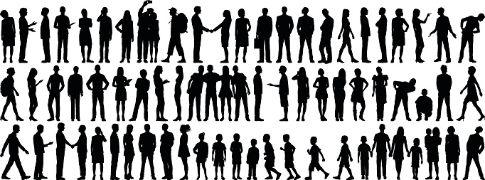 Highly Detailed People Silhouettes clipart