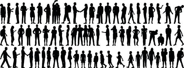 sehr detaillierte personen silhouetten  - gestikulieren stock-grafiken, -clipart, -cartoons und -symbole