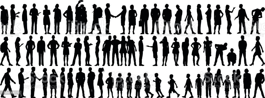 Highly Detailed People Silhouettes vector art illustration