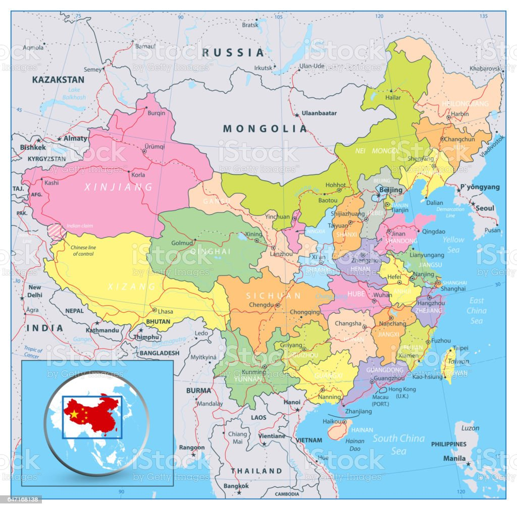 Highly Detailed Political Map Of China With Roads Railroads And