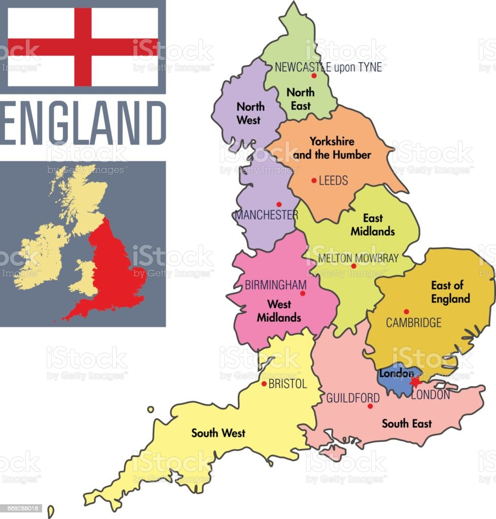Big Map Of England.Highly Detailed Political Map Of England With Regions And Their