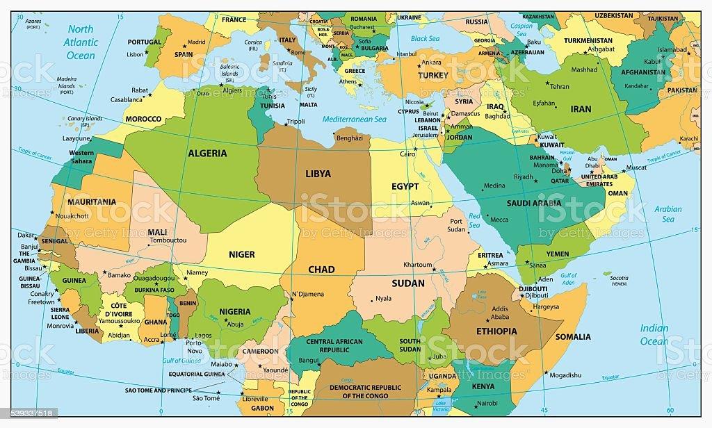 Altamente Detalhada Mapa Poltico Da frica Do Norte E O Meio