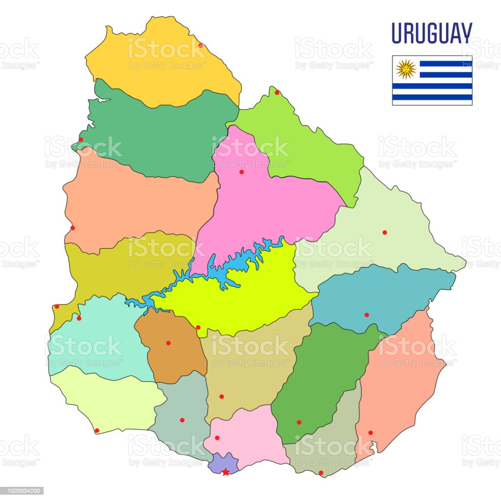 Highly Detailed Political Map Of Uruguay Stock Vector Art & More ...