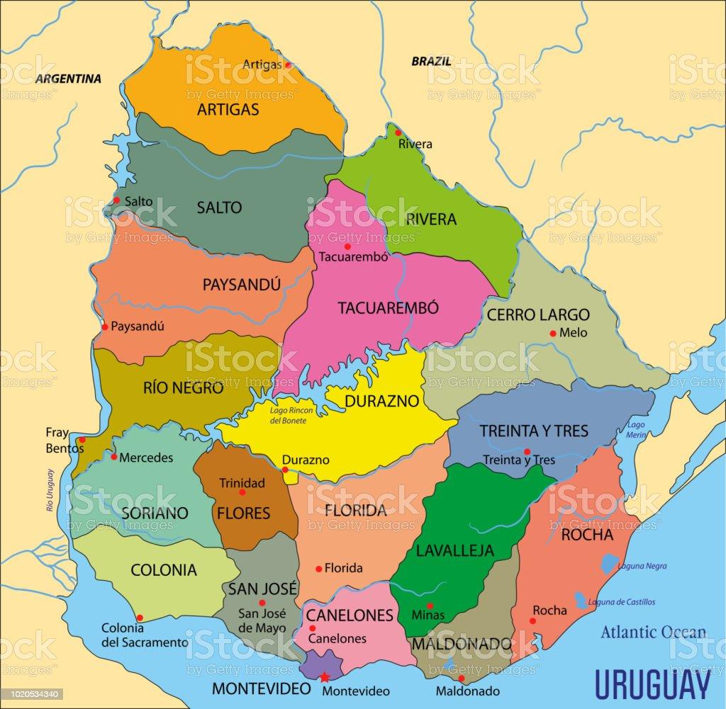 Carte Amerique Latine Uruguay.Carte Politique Tres Detaillee De Luruguay Vecteurs Libres De Droits