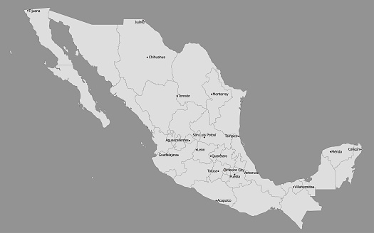 Highly Detailed Political Mexico Map, Main Cities