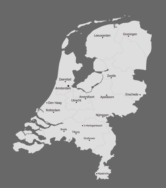 stockillustraties, clipart, cartoons en iconen met zeer gedetailleerde politieke kaart van nederland, grote steden - eindhoven