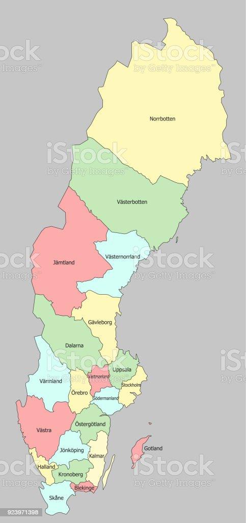 Mapa Politico De Suecia.Ilustracion De Altamente Detallado Mapa Politico De Suecia Y