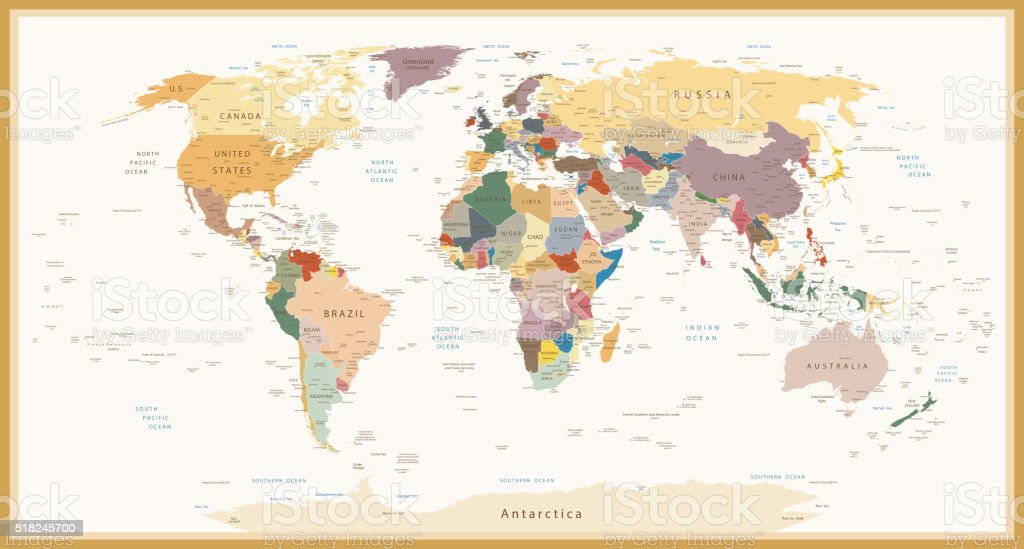 Highly Detailed Political World Map Vintage Colors vector art illustration