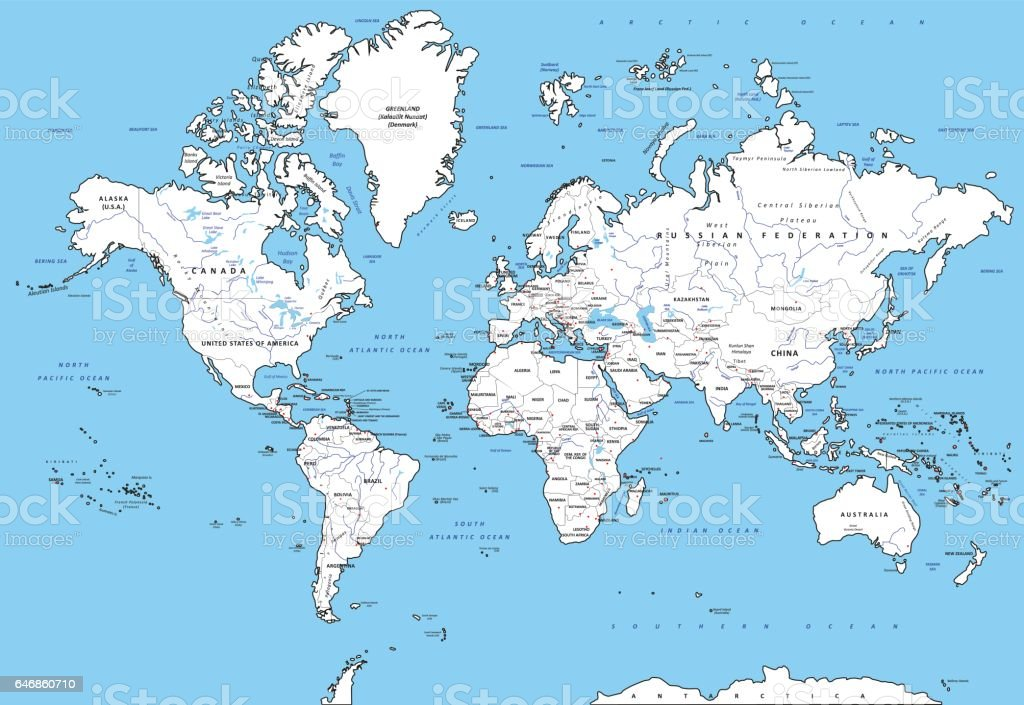 Highly Detailed Political World Map With Capitals Rivers Separated ...