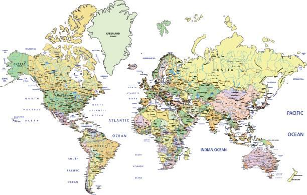ilustrações, clipart, desenhos animados e ícones de altamente detalhado mapa mundo político com a rotulagem. - político