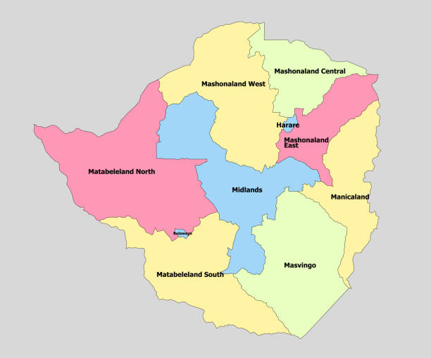 sehr detaillierte landkarte simbabwe - salisbury stock-grafiken, -clipart, -cartoons und -symbole