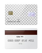 Highly detailed realistic glossy credit card. Front and back side mockup set. Place for your own design. Graphic design element for shopping advertisement, web shop payment method. Vector illustration