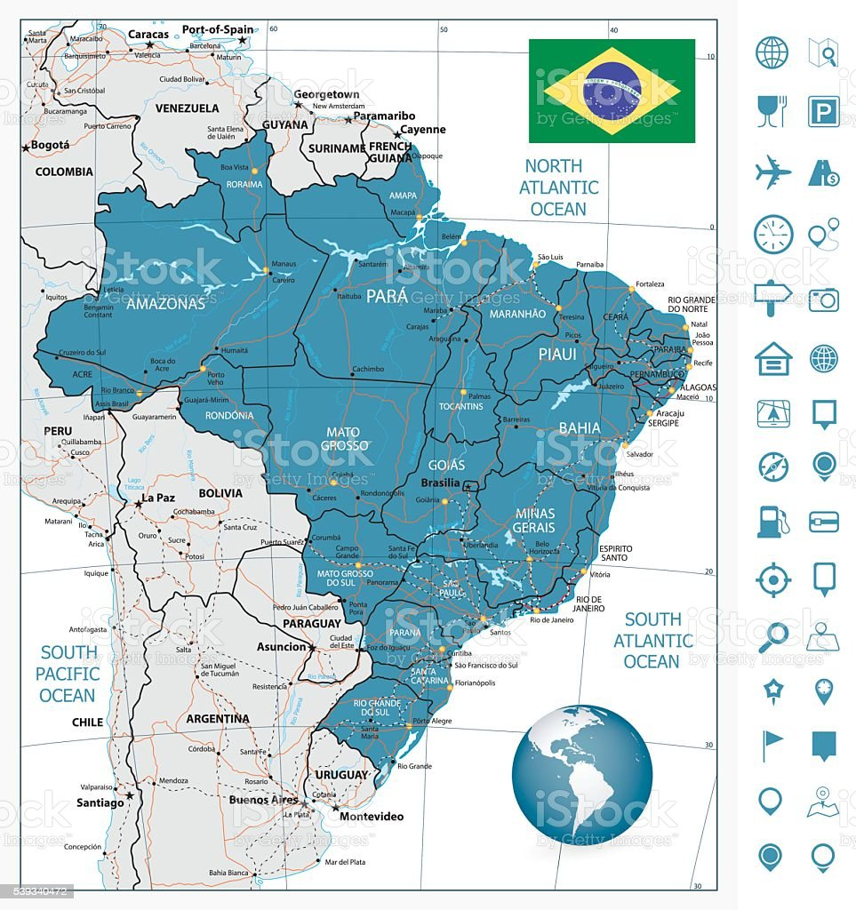 Highly Detailed Road Map Of Brazil Stock Vector Art More Images of