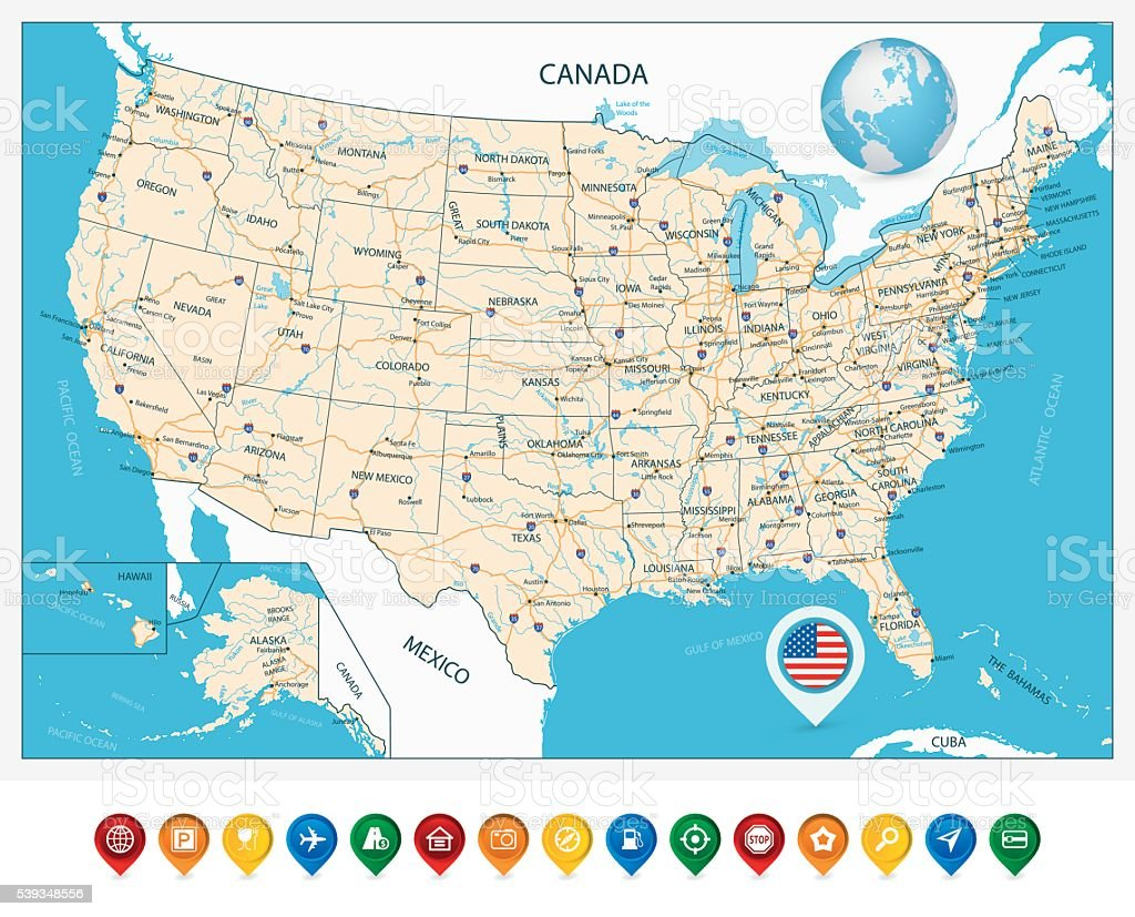 Highly detailed road map of United States vector art illustration