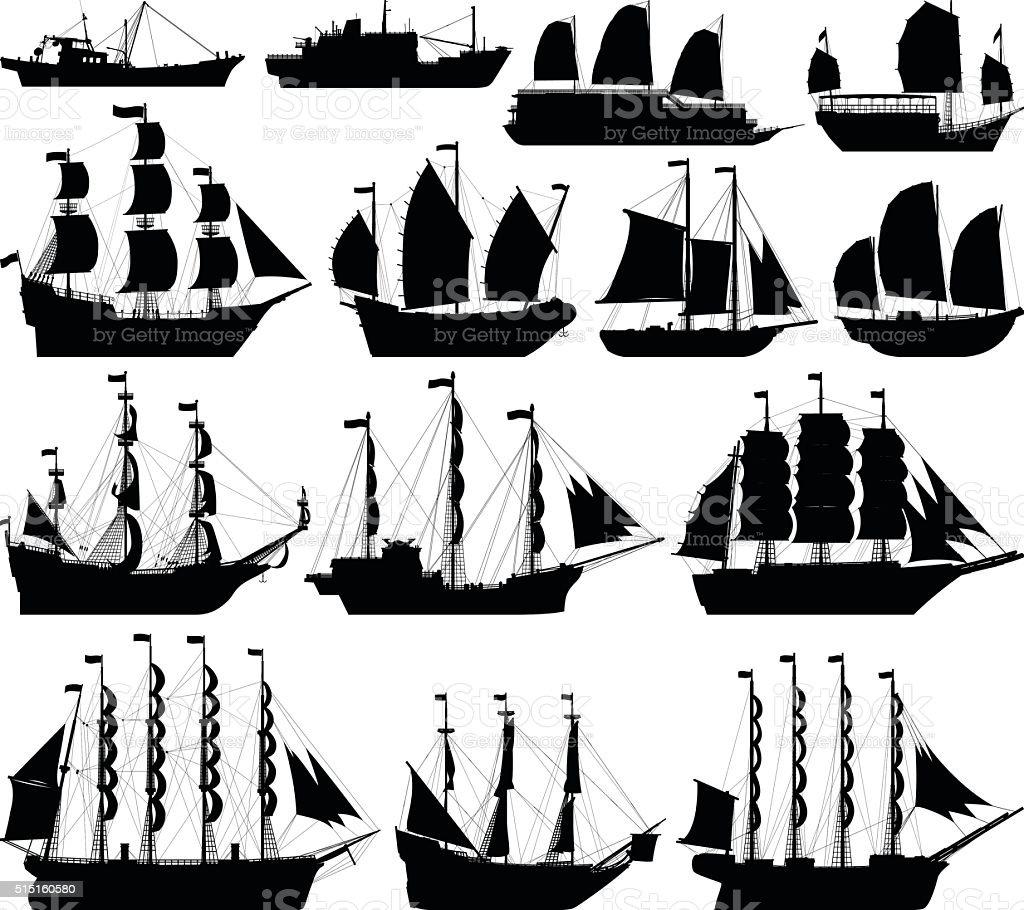 Barco siluetas muy detalladas - ilustración de arte vectorial