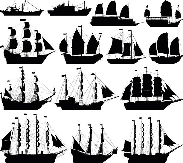 Highly Detailed Ship Silhouettes Ship silhouettes. pirate ship stock illustrations