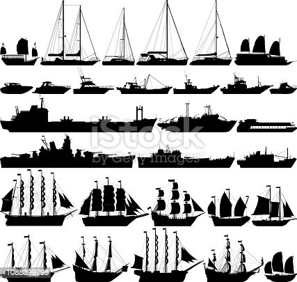 Highly detailed ships and boats.