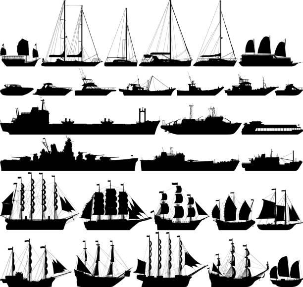 ilustrações de stock, clip art, desenhos animados e ícones de highly detailed ships and boats - fishing boat