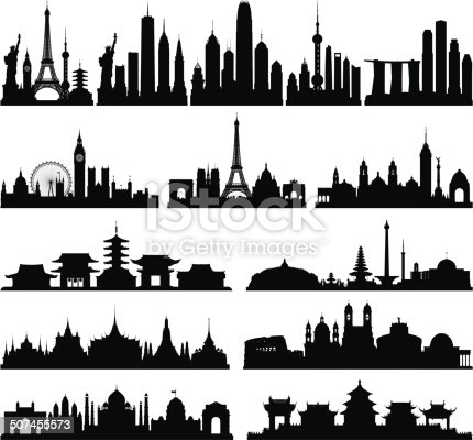 Each building is separate, complete and highly detailed. The detail on each building is enough to use them separately if needed. From left to right: the world, New York, Hong Kong, Shanghai, Singapore, London, Paris, Mexico City, Tokyo, Jakarta and Indonesia, Bangkok, Rome, Delhi and India, and Beijing.