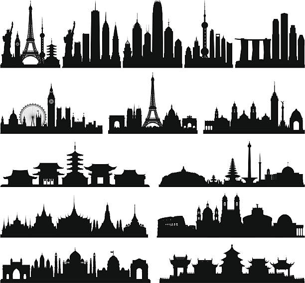 Highly Detailed Skylines (Complete, Moveable Buildings) Each building is separate, complete and highly detailed. The detail on each building is enough to use them separately if needed. From left to right: the world, New York, Hong Kong, Shanghai, Singapore, London, Paris, Mexico City, Tokyo, Jakarta and Indonesia, Bangkok, Rome, Delhi and India, and Beijing. paris black and white stock illustrations