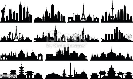 Highly detailed skyline silhouettes. All buildings are complete and moveable. From left to right; New York, Hong Kong, Paris, Shanghai, World skyline, Mexico City, London, Singapore, Delhi, Rome, Bangkok, Tokyo, Jakarta, Beijing.