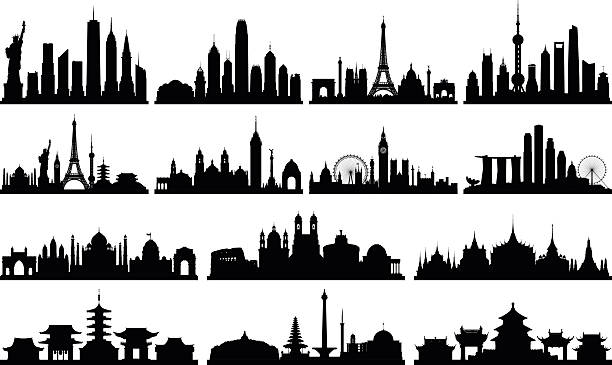 highly detailed skylines (complete, moveable buildings) - asia travel stock illustrations, clip art, cartoons, & icons