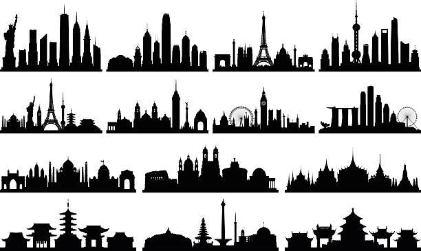 sehr detaillierte skylines (vollständig, beweglichen gebäude) - asienreisen stock-grafiken, -clipart, -cartoons und -symbole